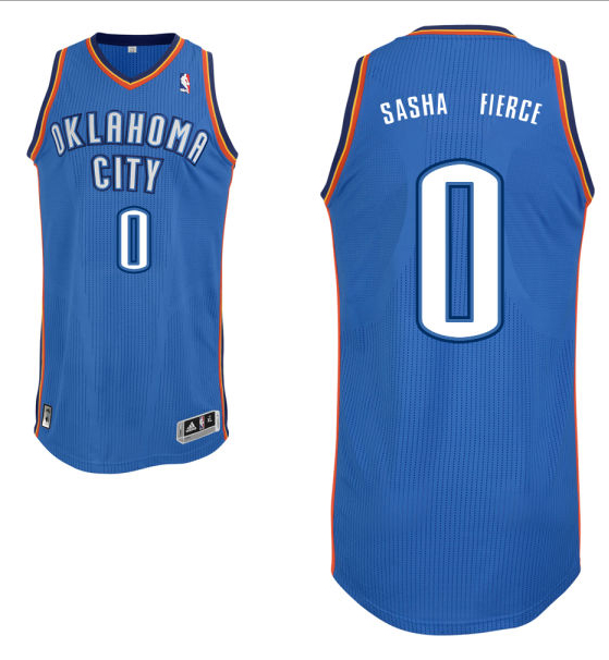 "Russell Westbrook's road blue Oklahoma City Thunder nickname jersey with ""Sasha Fierce"" on the back. (NBA.com)"