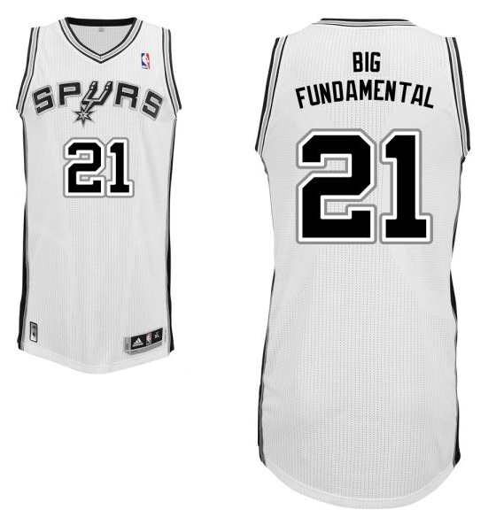 "Tim Duncan's home white San Antonio Spurs nickname jersey with ""Big Fundamental"" on the back. (NBA.com)"