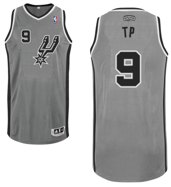"Tony Parker's gray alternate San Antonio Spurs nickname jersey with ""TP"" on the back. (NBA.com)"