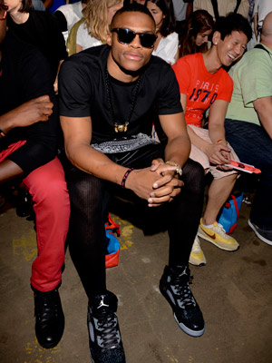 A tighted Russell Westbrook at the New York Fashion Week opening ceremony. (Vivien Killilea/Getty Images)