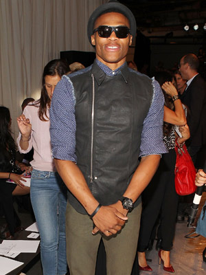 Russell Westbrook gets his vest on during the Rag & Bone fashion show. (Ben Gabbe/Getty Images Entertainment)