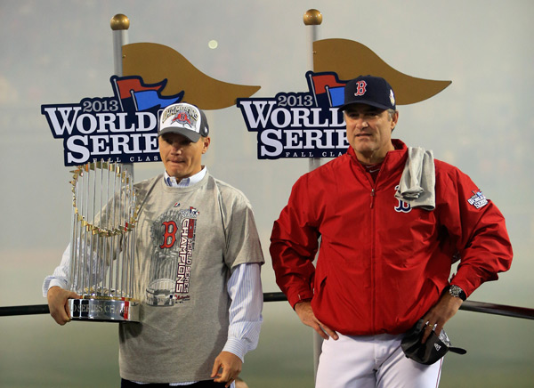 Manager John Farrell and General Manager  Ben Cherington after Game 6. (Jamie Squire/Getty Images)