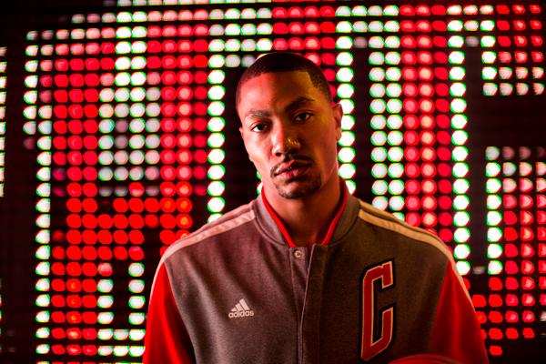 Derrick Rose models the Bulls' new varsity jacket. (Adidas)