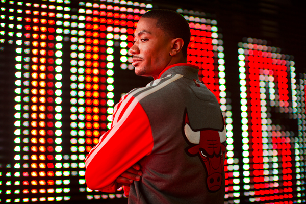 Derrick Rose models the Bulls' new varsity jacket. (Adidas)
