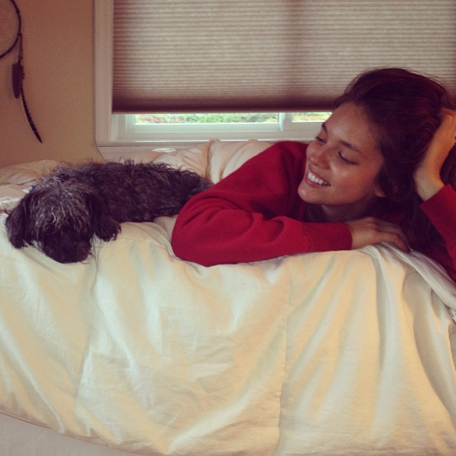 @emilydidonato1: Upstate Sunday snuggling with my crazy scruff ball Mia