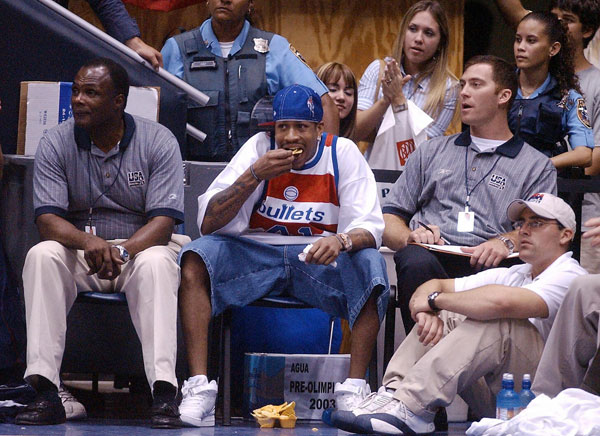 Oct. 21 is recognized as International Day of the Nacho. Allen Iverson is excited. (Roberto Schmidt/Getty Images)