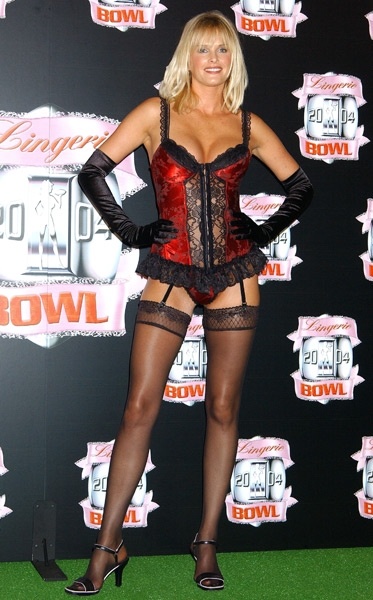 Bax shows off her figure at the  Unveiling for Lingerie Bowl 2004 in Hollywood. (Gregg DeGuire/WireImage)