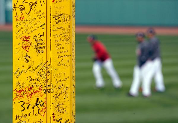 A close-up of Pesky's Pole at Fenway Park. (AP)