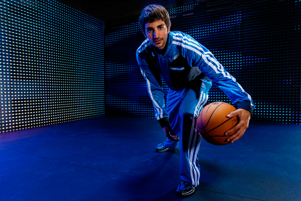 Ricky Rubio models the Timberwolves' new warm-up jacket. (Adidas)