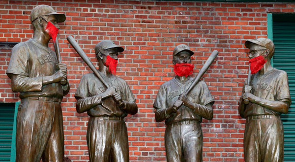 Even the statues of Red Sox legends have World Series beards. (Jamie Squire/Getty Images)