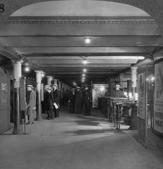 On this day in 1904, New York City's first subway opened. Here's a shot of passengers getting on the train at Penn Station. (Getty Images)