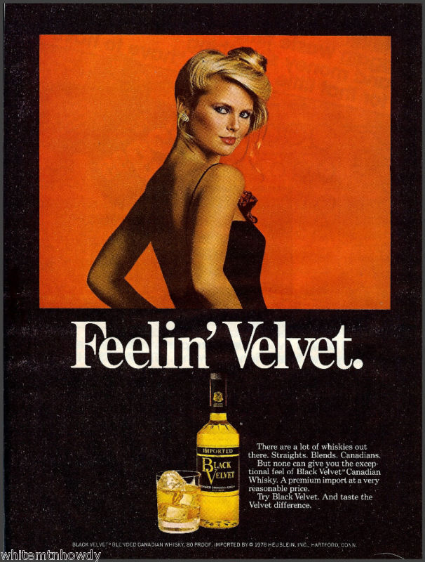 Christie for Black Velvet whiskey, 1979