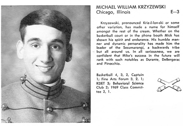 Mike Krzyzewski, Class of '69, West Point Academy