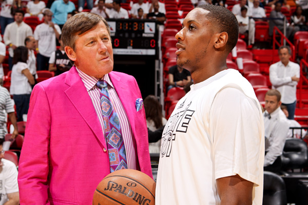 Craig Sager and Mario Chalmers :: Issac Baldizon/NBAE via Getty Images