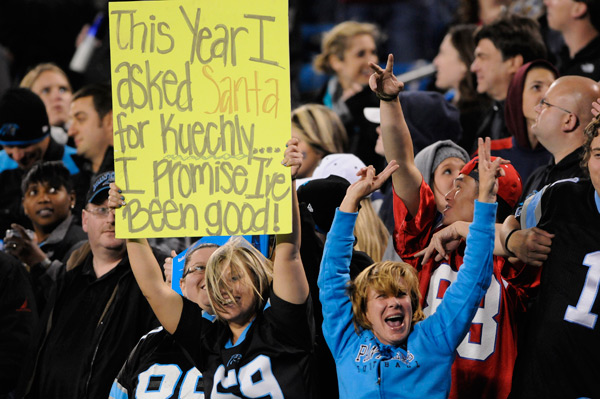 A Panthers fan during Monday's game. (AP)