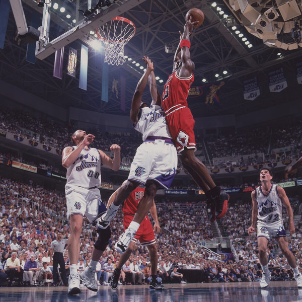"Michael Jordan skies high during the ""Flu Game."" (John W. McDonough/SI)"