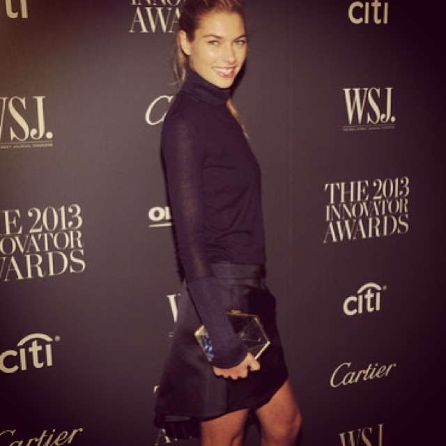 @1jessicahart: Arriving for dinner last night.. @wsj @kristina_oneill wearing @Ferragamo with my #Vionnet clutch