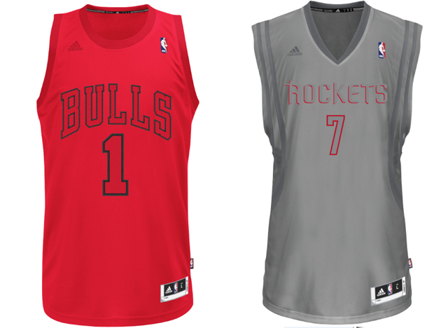 2012 Christmas jerseys for the Bulls and Rockets. (NBA)