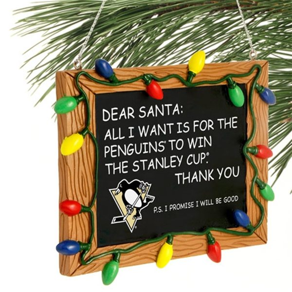 For the spoiled Penguins fan in your life: an ornament begging Santa to bring the Stanley Cup back to Pittsburgh. What -- Sidney Crosby wasn't good enough, so you had to go over his head?                                          (via NHL.com)