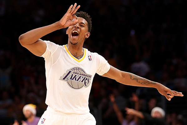 Lakers guard Nick Young in his Christmas Day jersey. (Stephen Dunn/Getty Images Sport)
