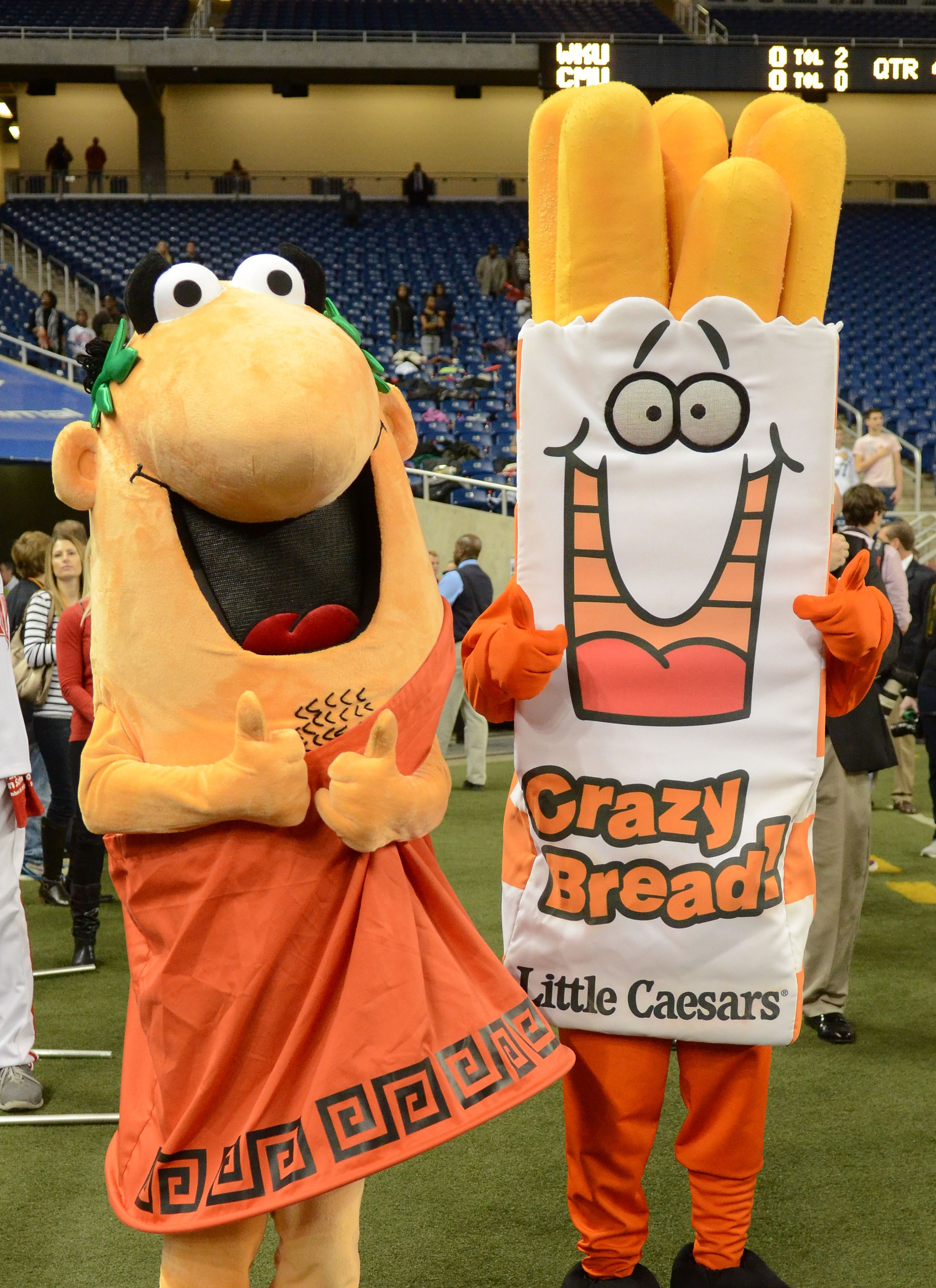 4. Little Caesar and his lesser known but still beloved companion Walking Bag of Crazy Bread (Little Caesars Bowl): at least they're trying.                                                                  (via Getty Images)