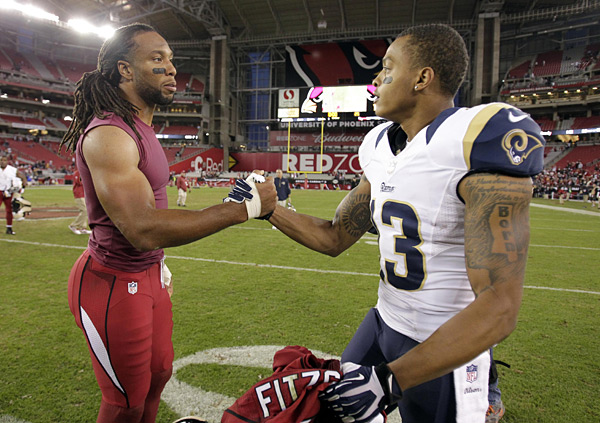 Larry Fitzgerald and Chris Givens :: AP Photo/Rick Scuteri