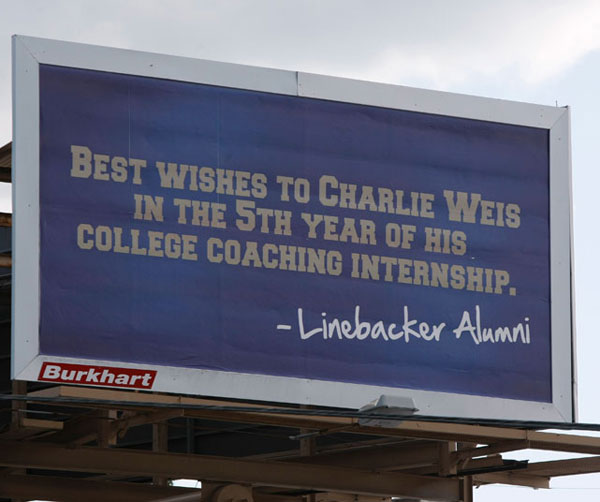 As Charlie Weis entered his fifth season as coach at Notre Dame, a group of former players used this billboard to let the coach know the past two seasons had not been good enough.                                 (AP Photo/South Bend Tribune, Santiago Flores)