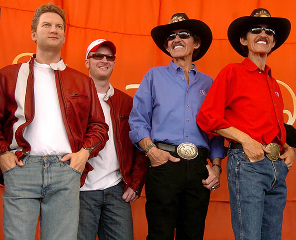 Dale Earnhardt Jr. and Richard Petty :: AP
