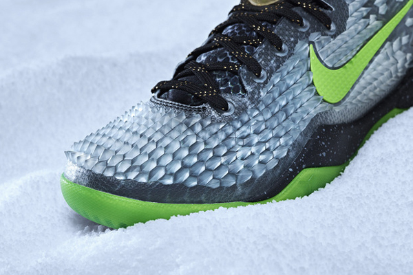 An angle look at the Christmas version of Kobe Bryant's signature Nike sneaker, the Kobe 8. (Nike)