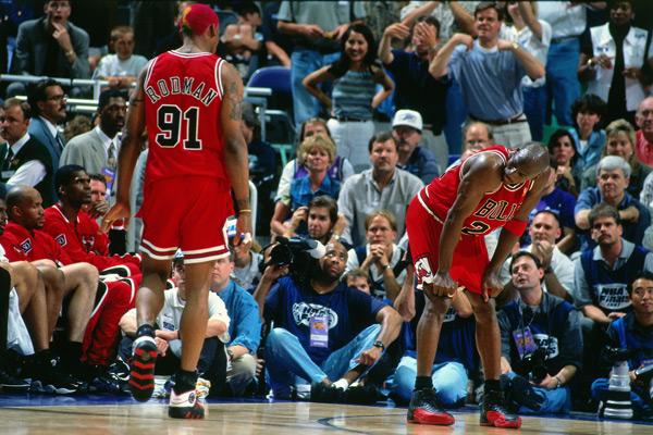 Michael Jordan and Dennis Rodman :: Nathaniel S. Butler/NBAE via Getty Images