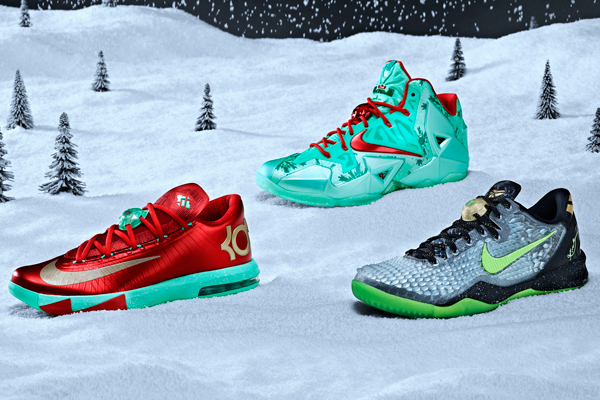 Christmas versions of signature Nike sneakers for, from left: Kevin Durant,  LeBron James