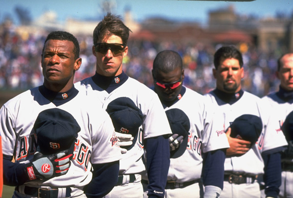 Rickey Henderson, Steve Finley w.sunglasses, Tony Gwynn w.sunglasses, Ken Caminiti and Wally Joyner  :: Stephen Green/SI