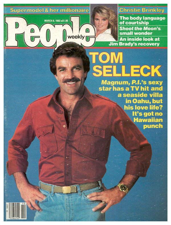 3/8/82 :: Christie's first appearance on PEOPLE's cover was an inset, proving that there's no competing with the Selleck stache.