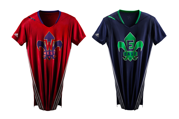 2014 NBA All-Star jerseys for the West (left) and East (right). (Adidas)