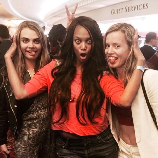 @tyrabanks: Cara Delecrazy, Georgia Cray Jagger and Tyra Craynks. (@caradelevingne @georgiamayjagger)