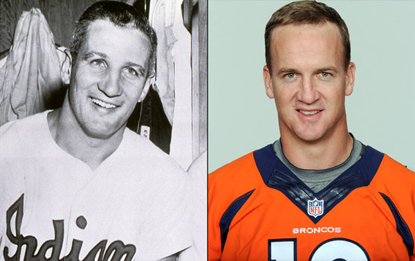 Al Rosen: Indians third baseman and                      Peyton Manning: Broncos quarterback ::                       Mark Rucker/Transcendental Graphics/Getty Images; AP