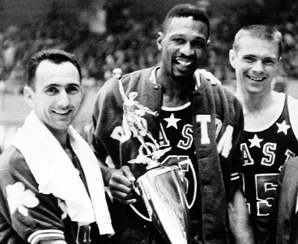 Bob Cousy (from left to right), Bill Russell and Tom Heinsohn pose after the 1963 All-Star Game. (NBA Photos/NBAE via Getty Images)