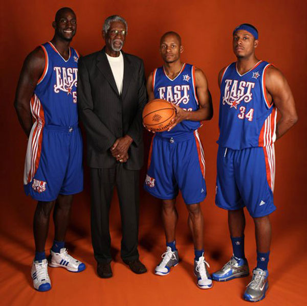 Kevin Garnett, Ray Allen and Paul Pierce pose with Bill Russell before the 2009 All-Star Game. (Getty Images)