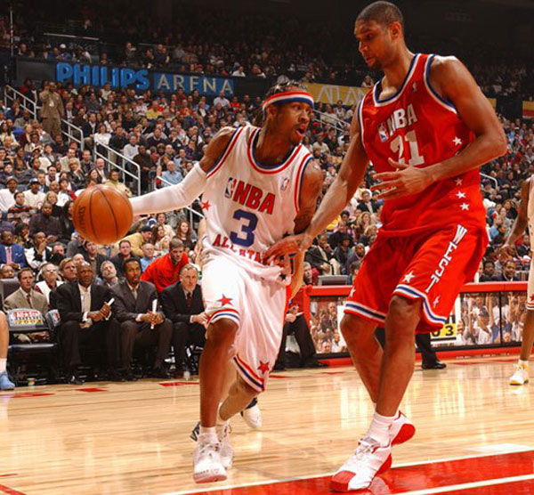 Allen Iverson and Tim Duncan at the 2003 NBA All-Star Game. (Getty Images)