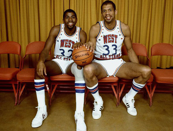Magic Johnson and Kareem Abdul-Jabbar at the 1984 NBA All-Star Game . (Getty Images)