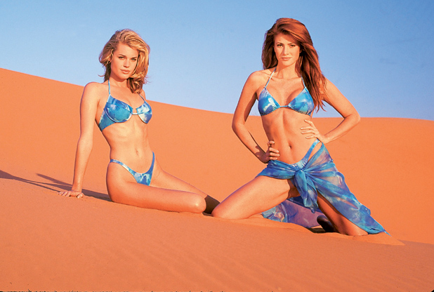 With Rebecca Romijn in South Africa's Kalahari Desert, 1996  ::  Marco Glaviano