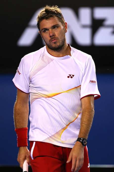 Wawrinka taking a page from McKayla Maroney's playbook. (AFP/Getty Images)