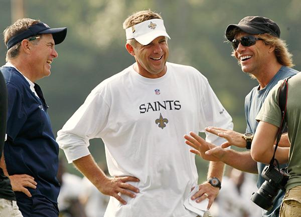 Bill Belichick, Sean Payton and Jon Bon Jovi :: AP