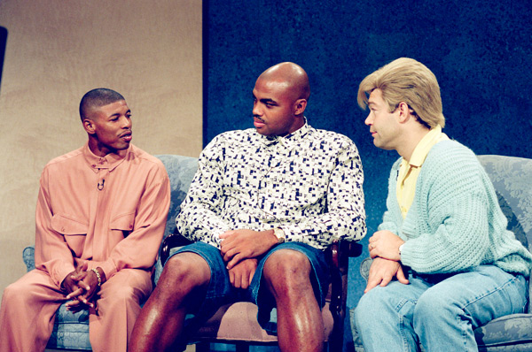 Muggsy Bogues, Charles Barkley and Al Franken :: Getty Images