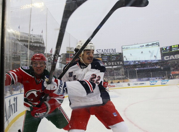 Brian Boyle and Marek Zidlicky near the third base line. (Getty Images)