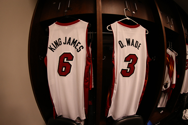 "Nickname jerseys belonging to Heat forward LeBron James (""King James"") and guard Dwyane Wade (""D. Wade""). (Nathaniel S. Butler/Getty Images)"