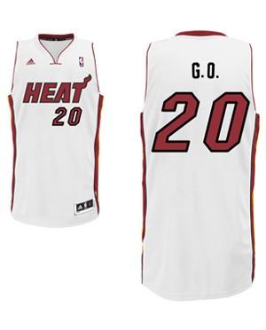 "Heat center Greg Oden's ""G.O."" nickname jersey. (Heat.com)"
