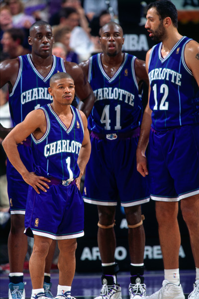 Muggsy Bogues, Anthony Mason, Glen Rice and Vlade Divac :: Getty Images