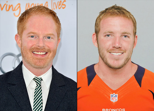 Jesse Tyler Ferguson: actor (Modern Family) and                      Matt Prater: Broncos kicker :: Alberto E. Rodriguez/Getty Images; AP