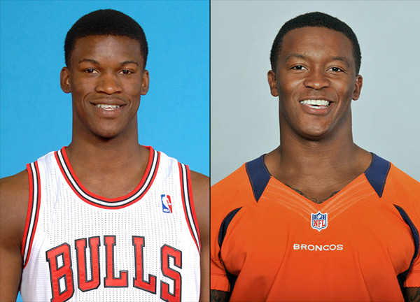 Jimmy Butler: Bulls guard-forward and                      Demaryius Thomas: Broncos wide receiver :: Kamil Krzaczynski/NBAE via Getty Images; AP